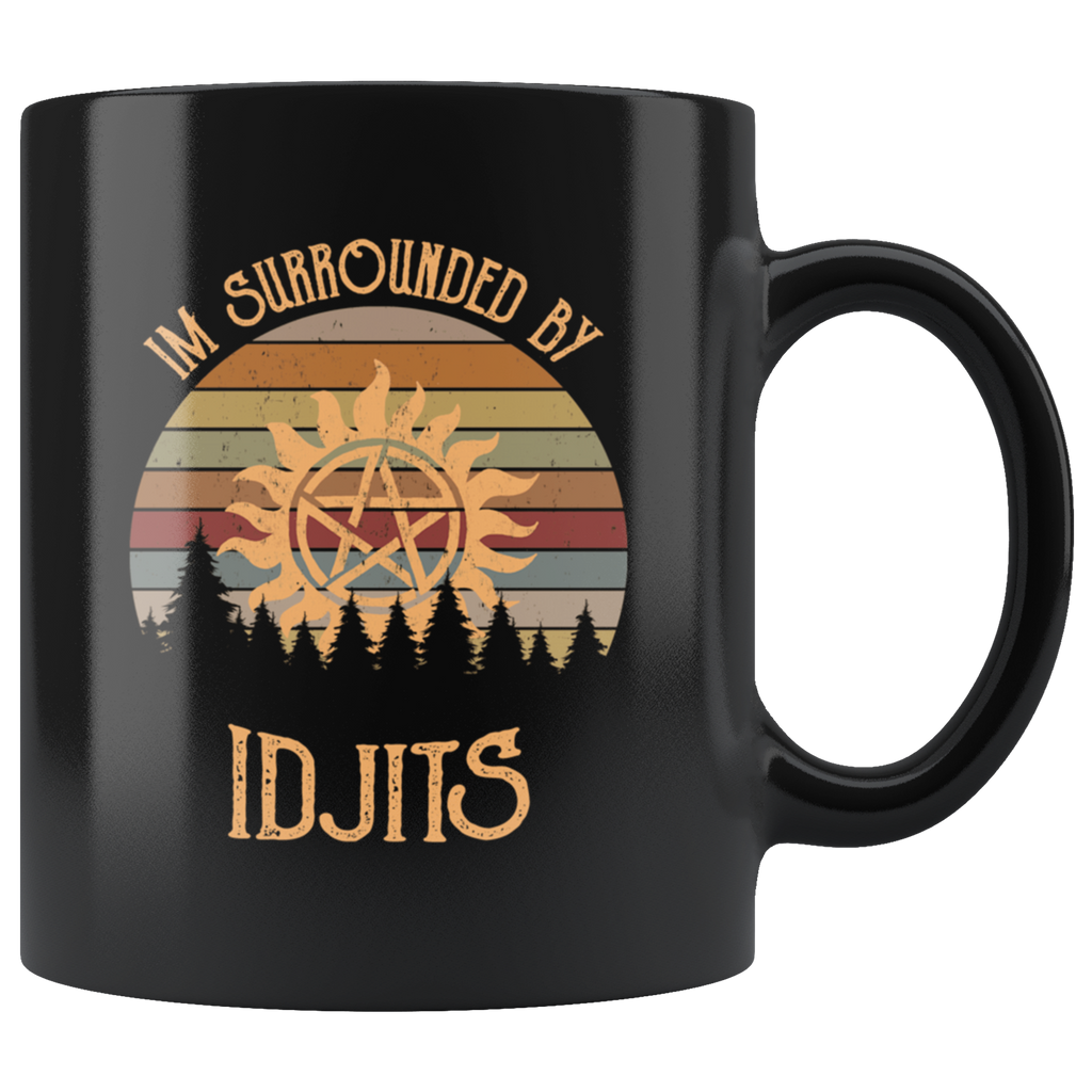 Retro Sunset I'm Surrounded by Idjits Mug Cup Coffee