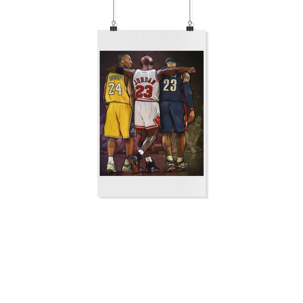 Legends Kobe Bryant vs Michael Jordan vs Lebron James Retro Vintage Art Poster