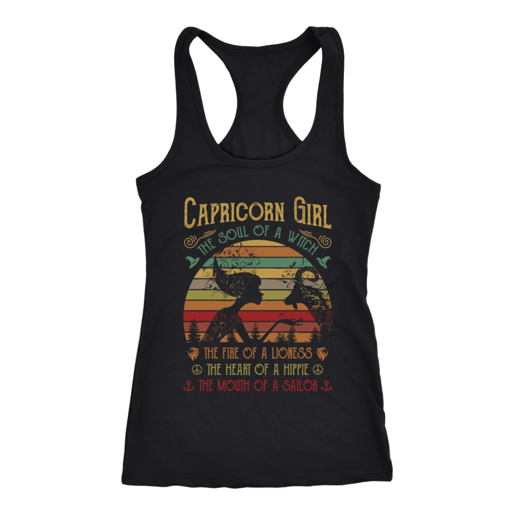 Retro Sunset Capricorn Girl the soul of a witch mouth of a sailor shirt