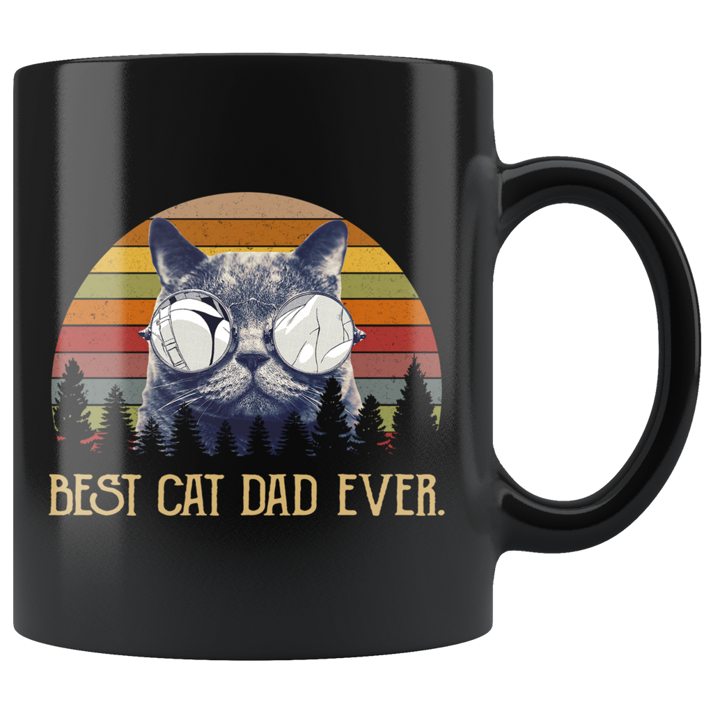 Retro Sunset Vintage Best Cat Dad Ever Mug Cup Coffee