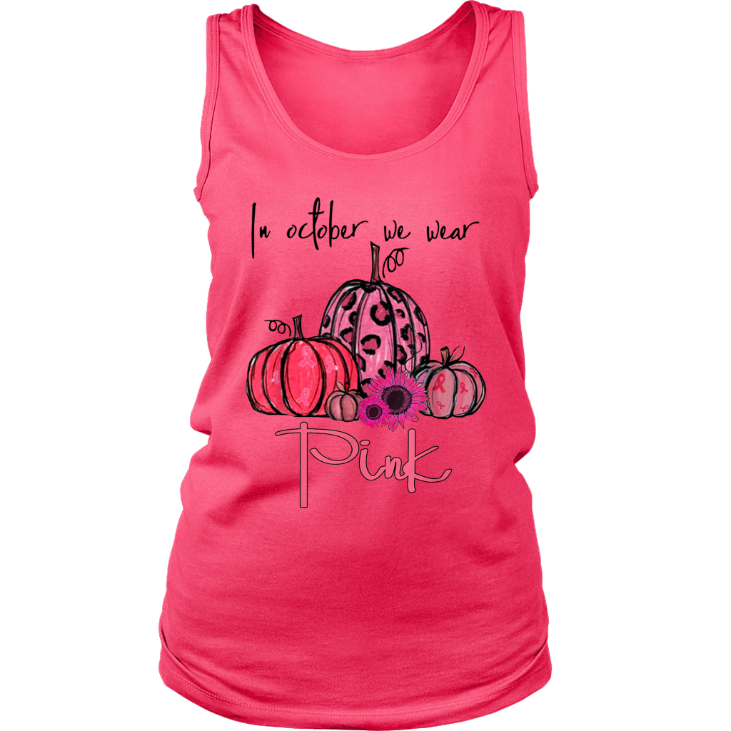 In October We Wear Pink Pumpkin Breast Cancer Halloween shirts