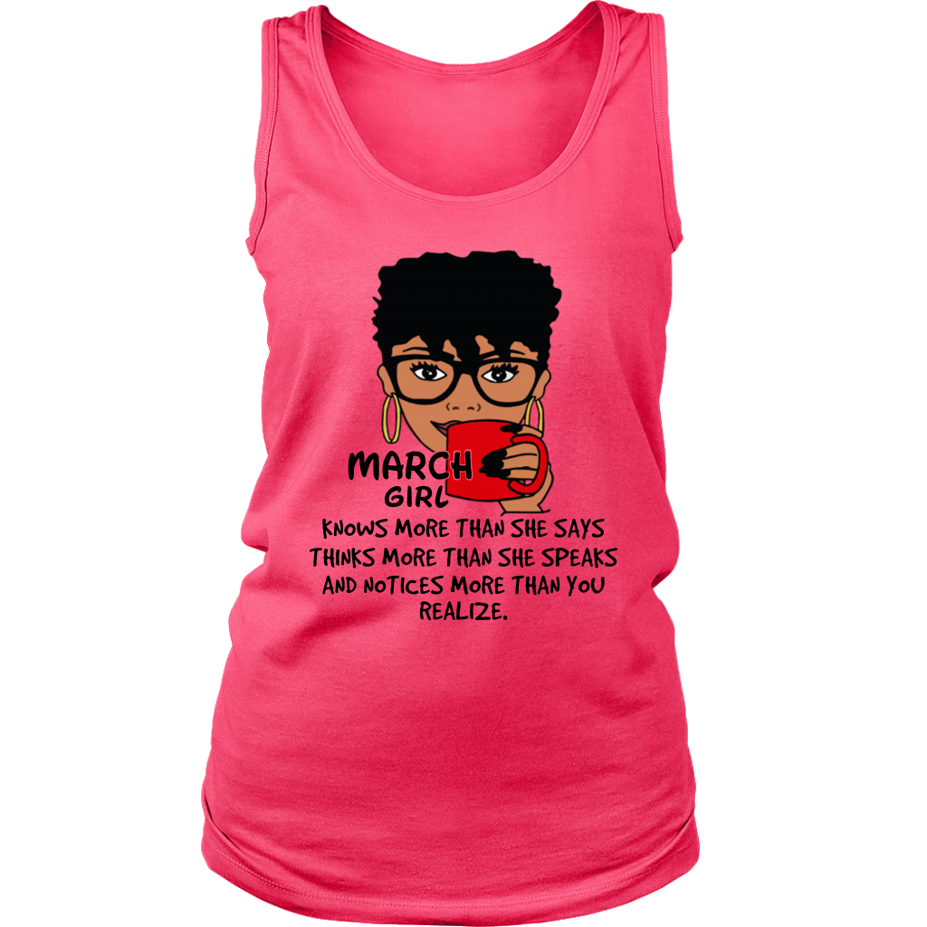 March Girl Knows More Than She Says T Shirt Black Queens