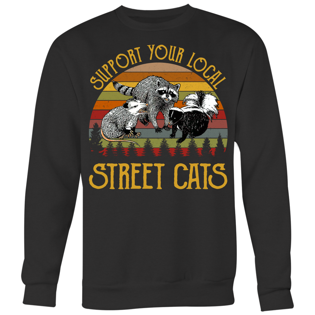 Retro Vintage Support Your Local Street Cats T Shirts