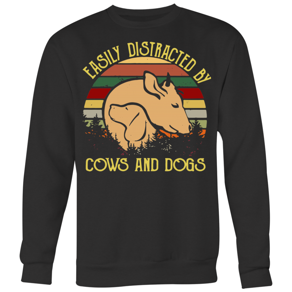 Retro Vintage Easily Distracted by Cows and Dogs shirt
