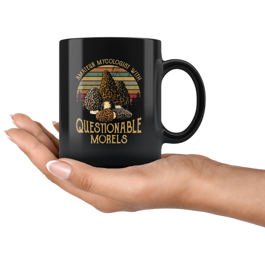 Retro Sunset Mushroom Amateur mycologist with questionable morels mug coffee