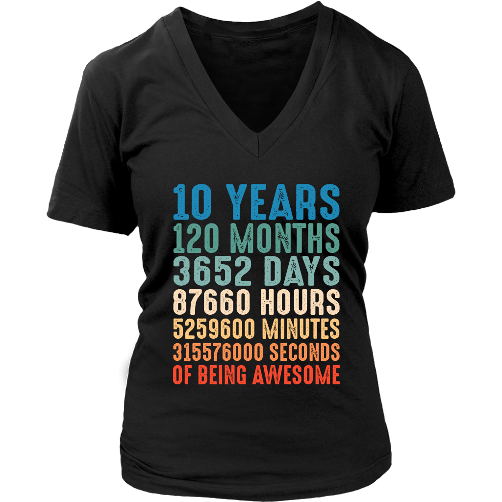 10 Years Old 10th Birthday Vintage Retro T Shirt 120 Months