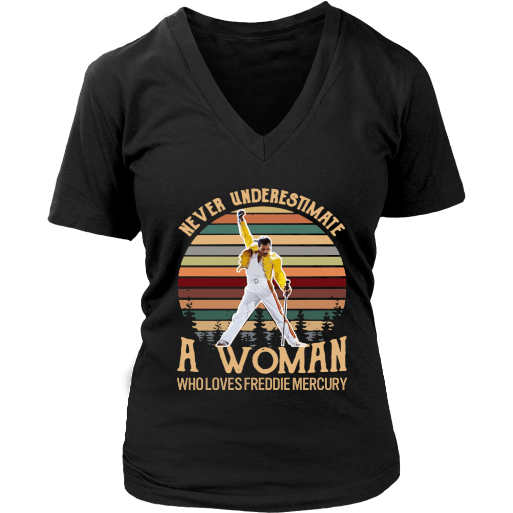 Retro Never Underestimate A Woman Who Loves Freddie Mercury shirt