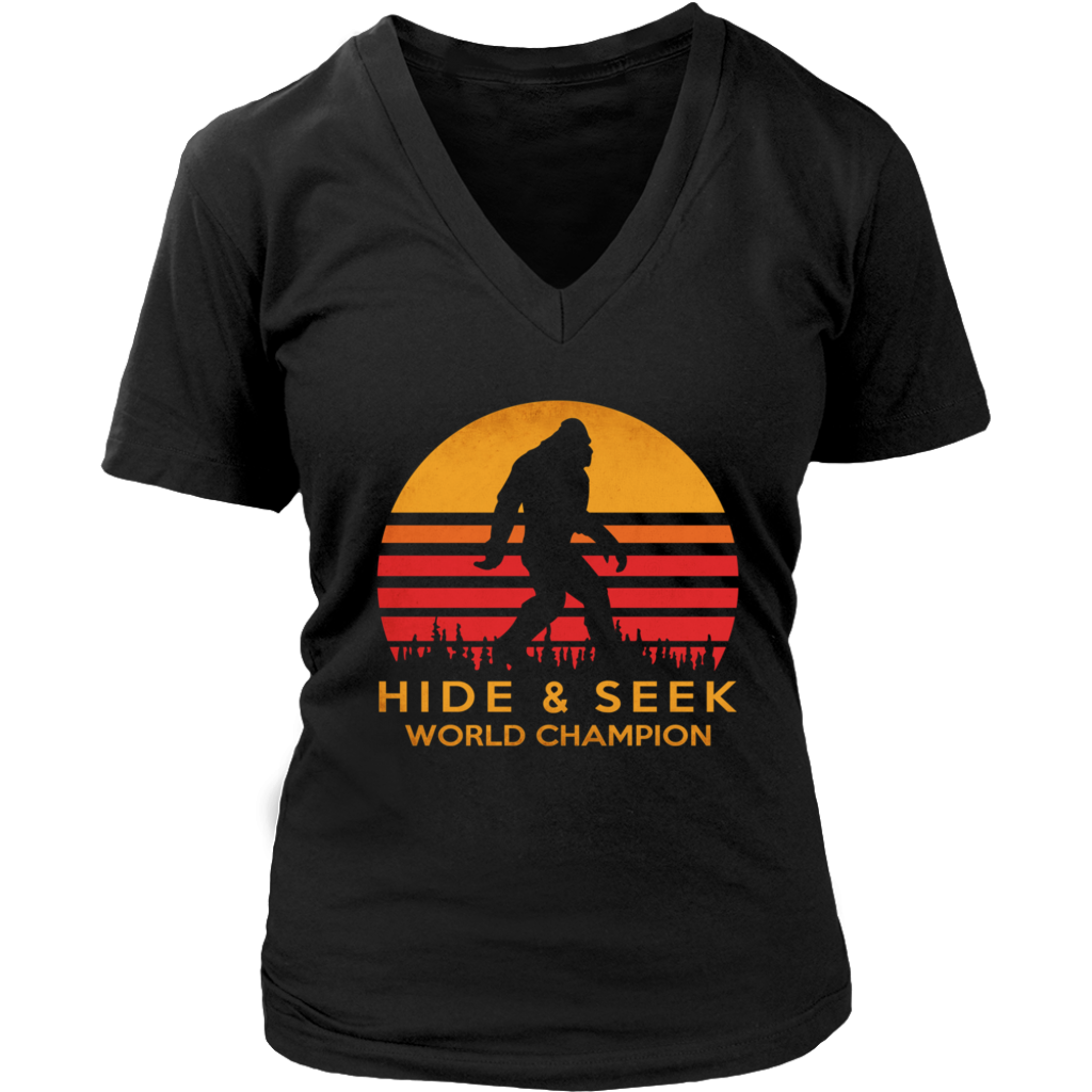 Retro Sunset Bigfoot Hide and Seek World Champion shirt