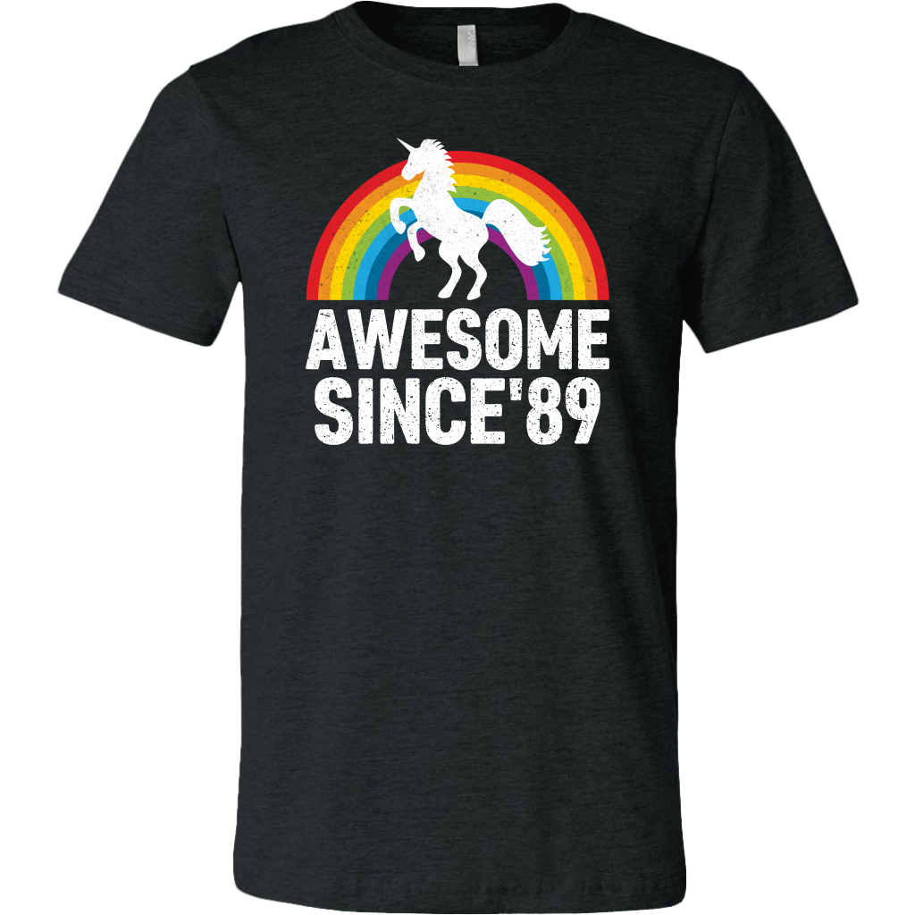 Rainbow Unicorn Awesome Since 89 30th Birthday 1989 30 Years Olds shirt