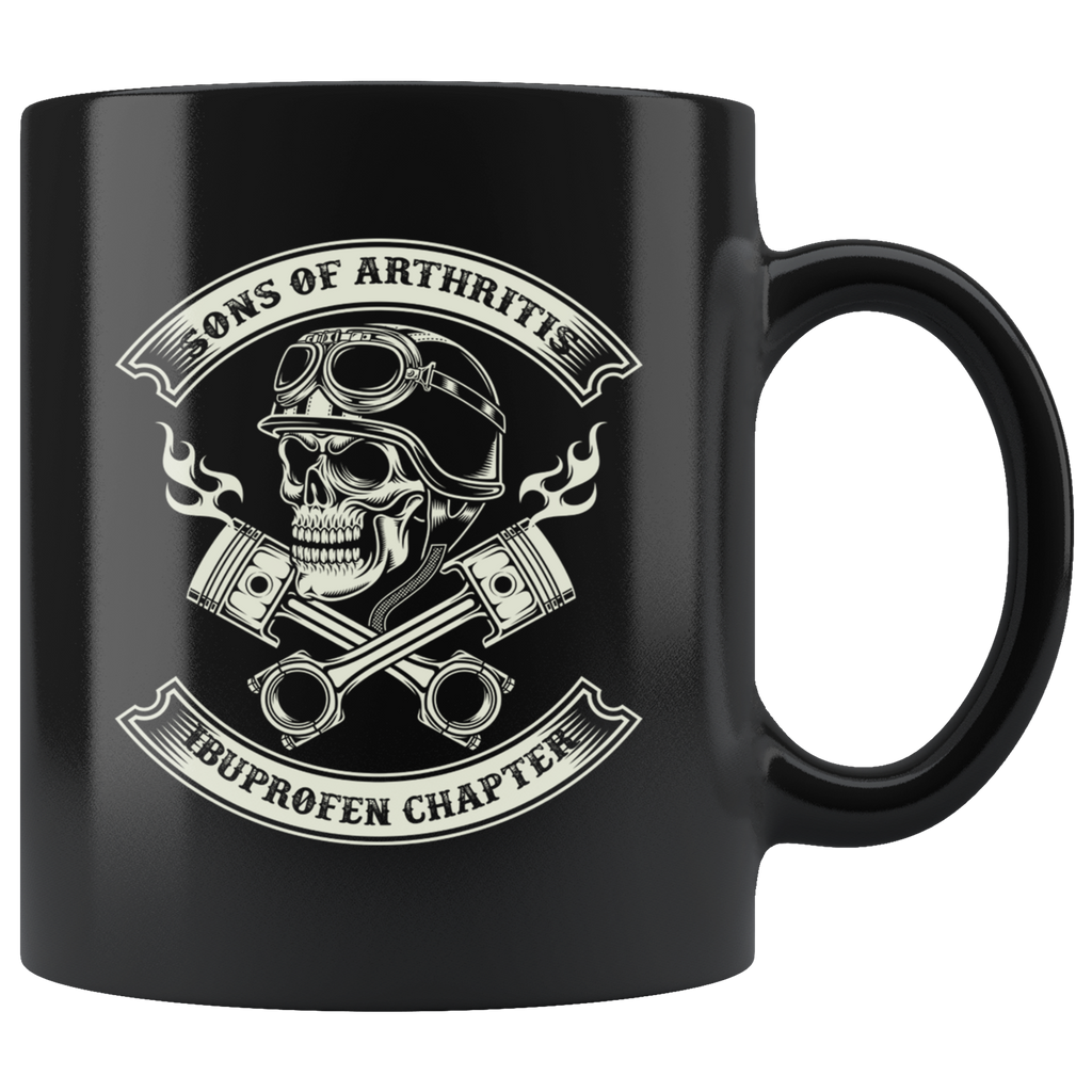 Sons of Arthritis Ibuprofen Chapter Skull & Pistons Biker Mug