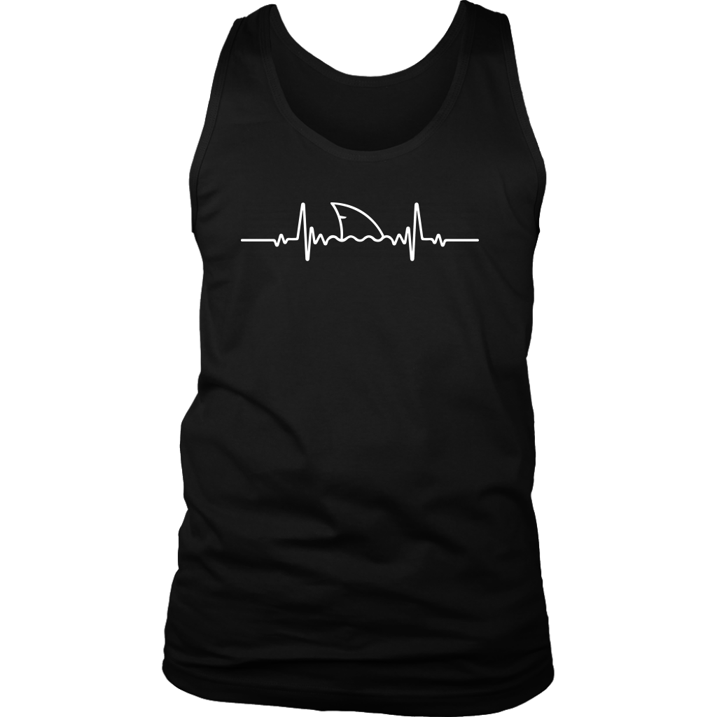 Funny Shark Fin Heartbeat T-Shirt