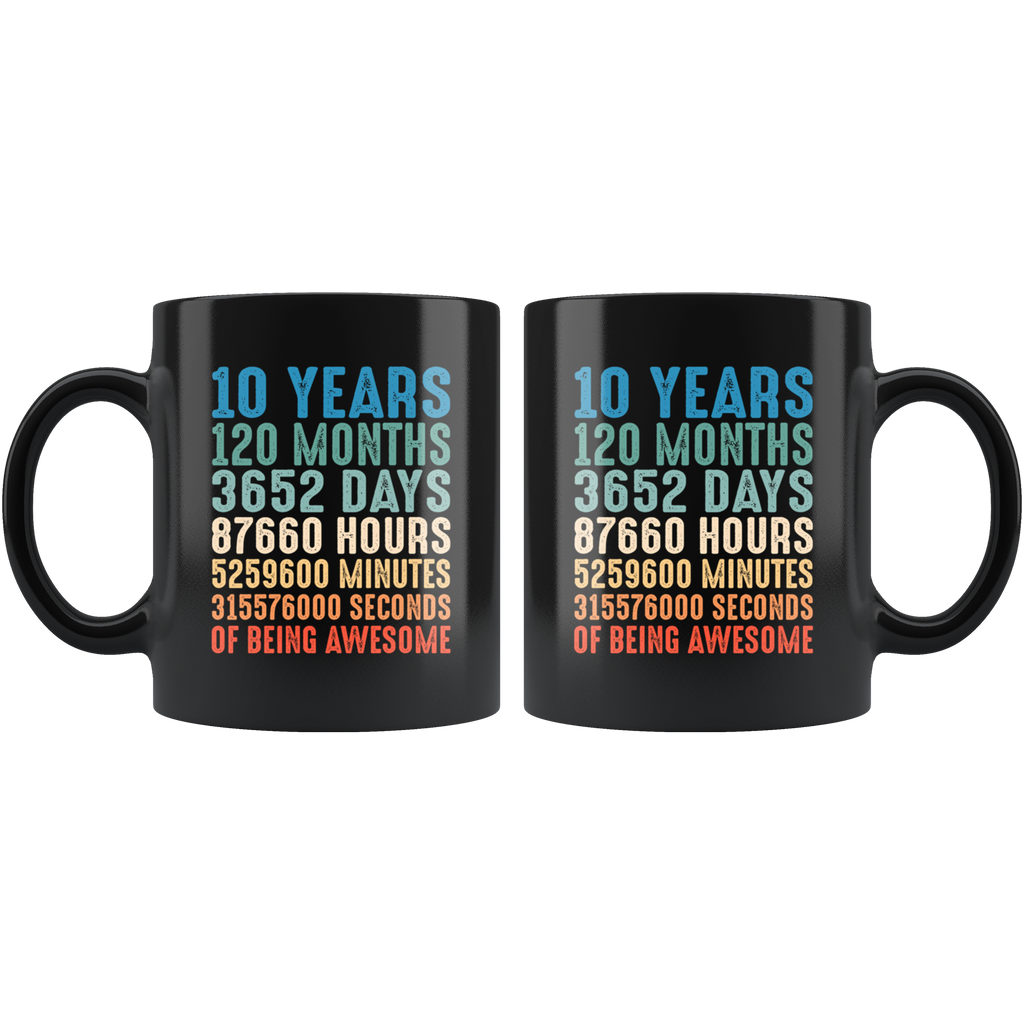 Vintage Retro 10 Years Old 10th Birthday 120 Months Mug Coffee
