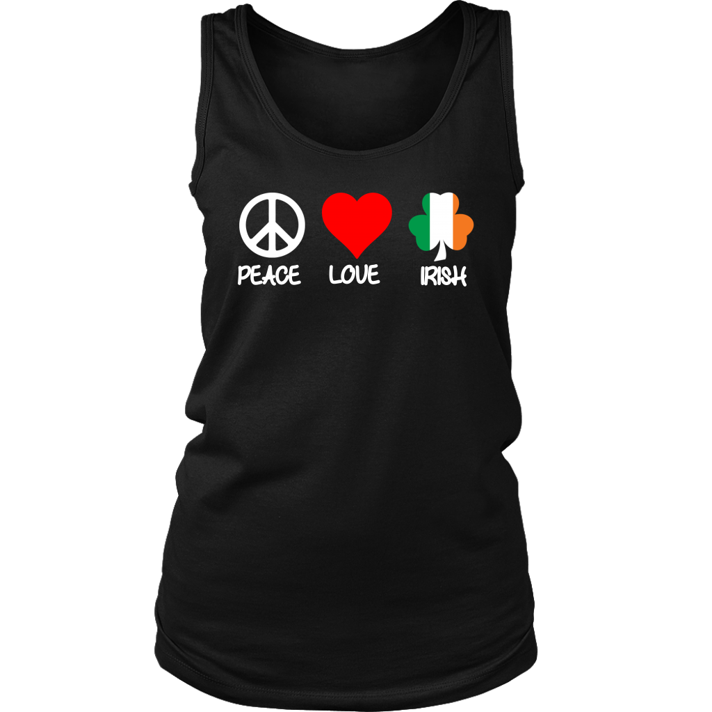 Peace Love Irish Shamrock Flag T-Shirt