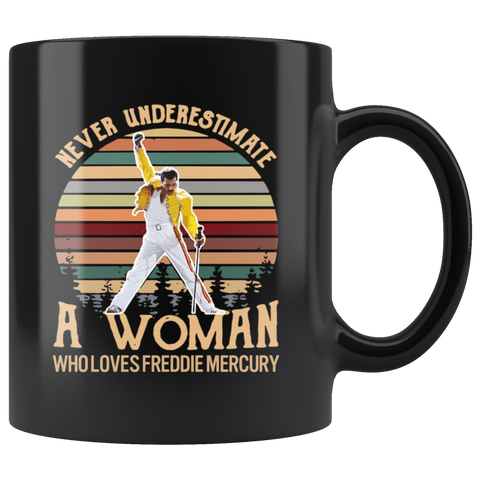 Retro Sunset Never Underestimate A Woman Who Loves Freddie Mercury Mug