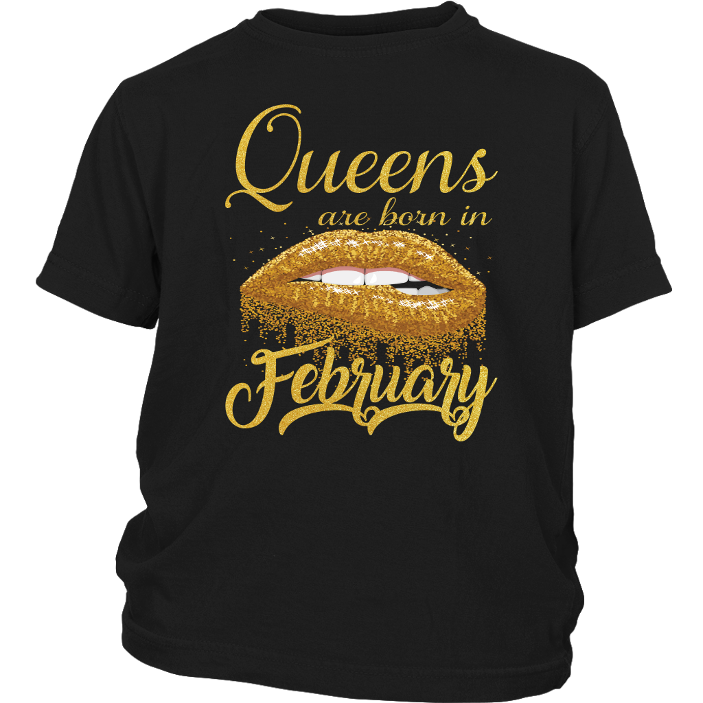 Queens Are Born in February Lips Mouth Birthday T-Shirt