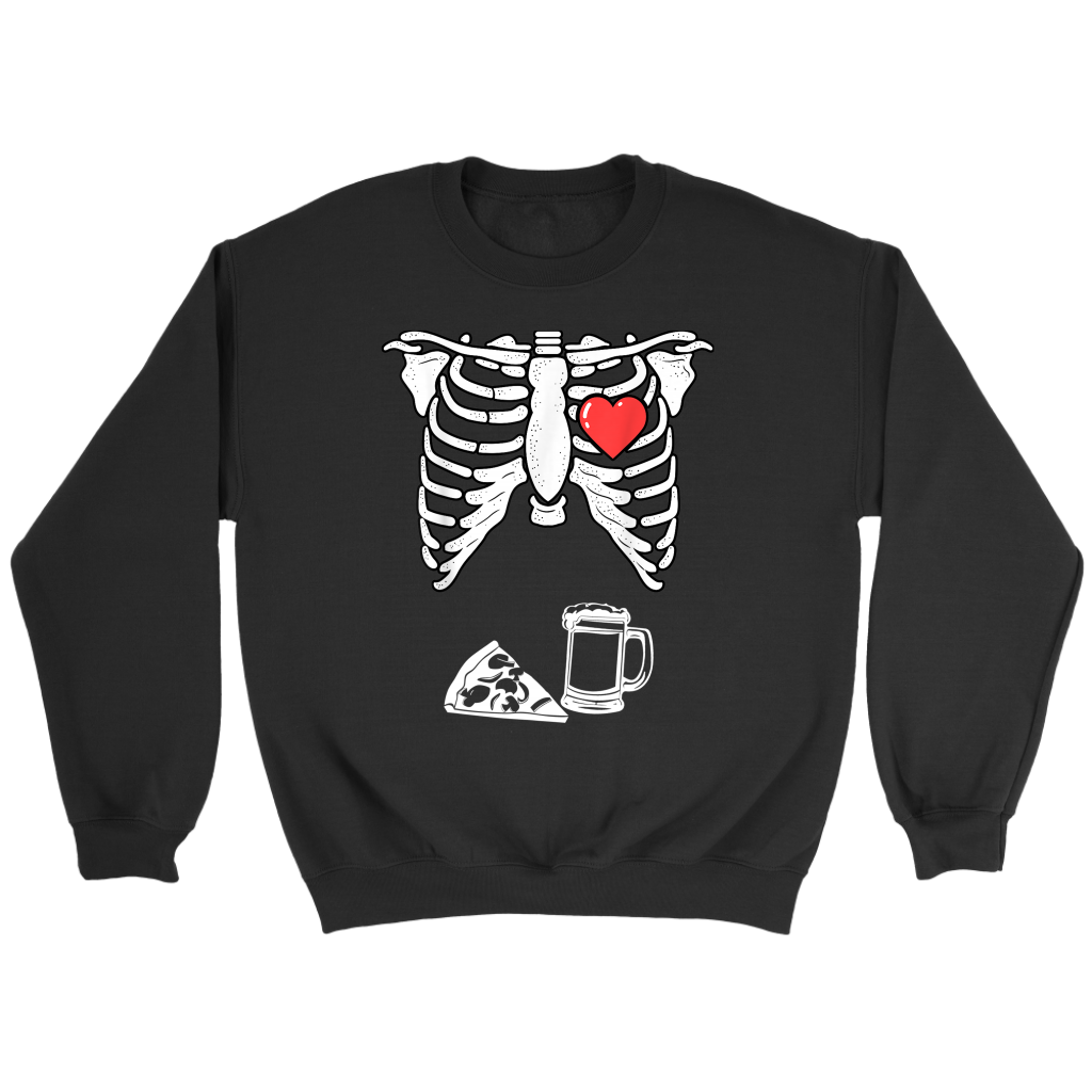 Skeleton Pregnancy Pizza Beer Shirt Xray Halloween