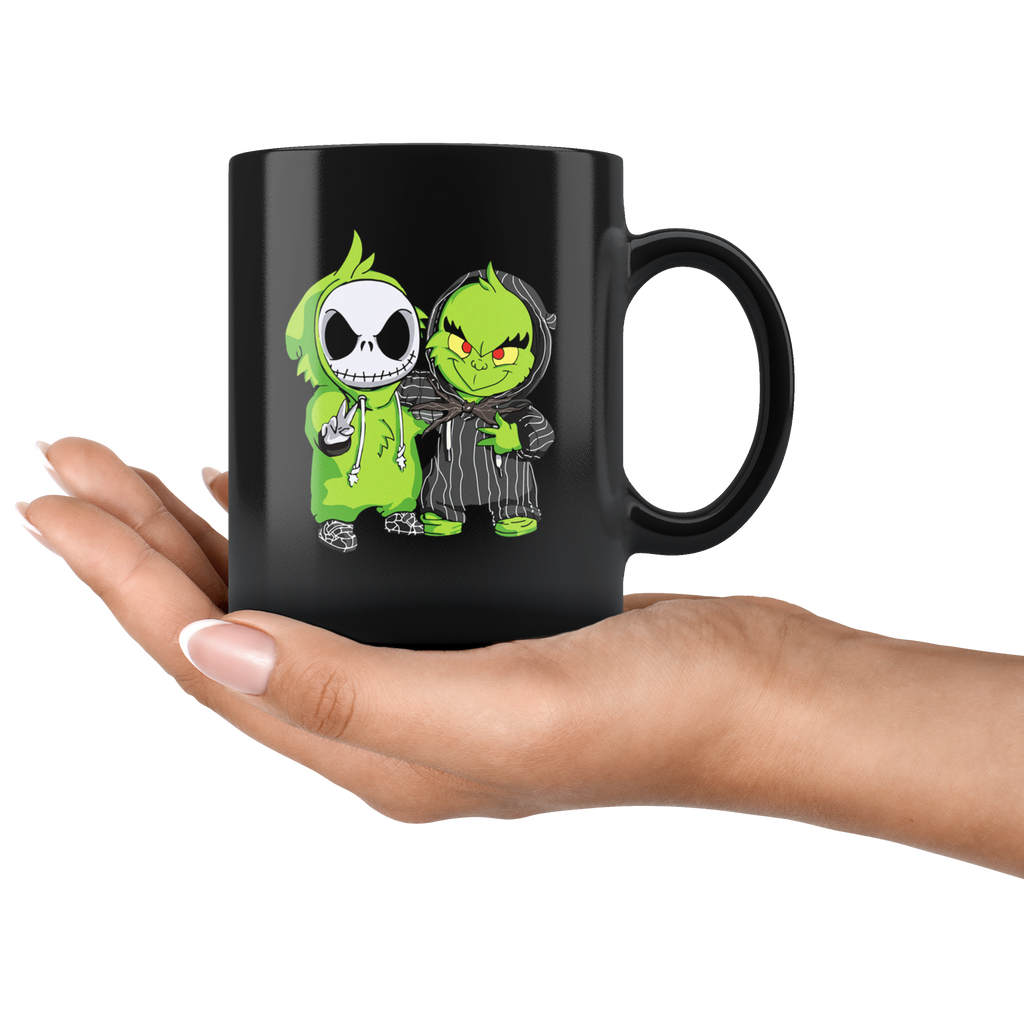 Funny Baby Jack Skellington and Grinch mugs