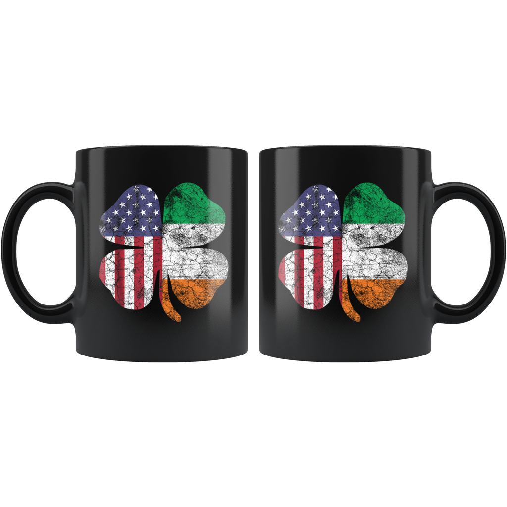 Vintage Irish American Flag Ireland Shamrock St Patricks Day Mug