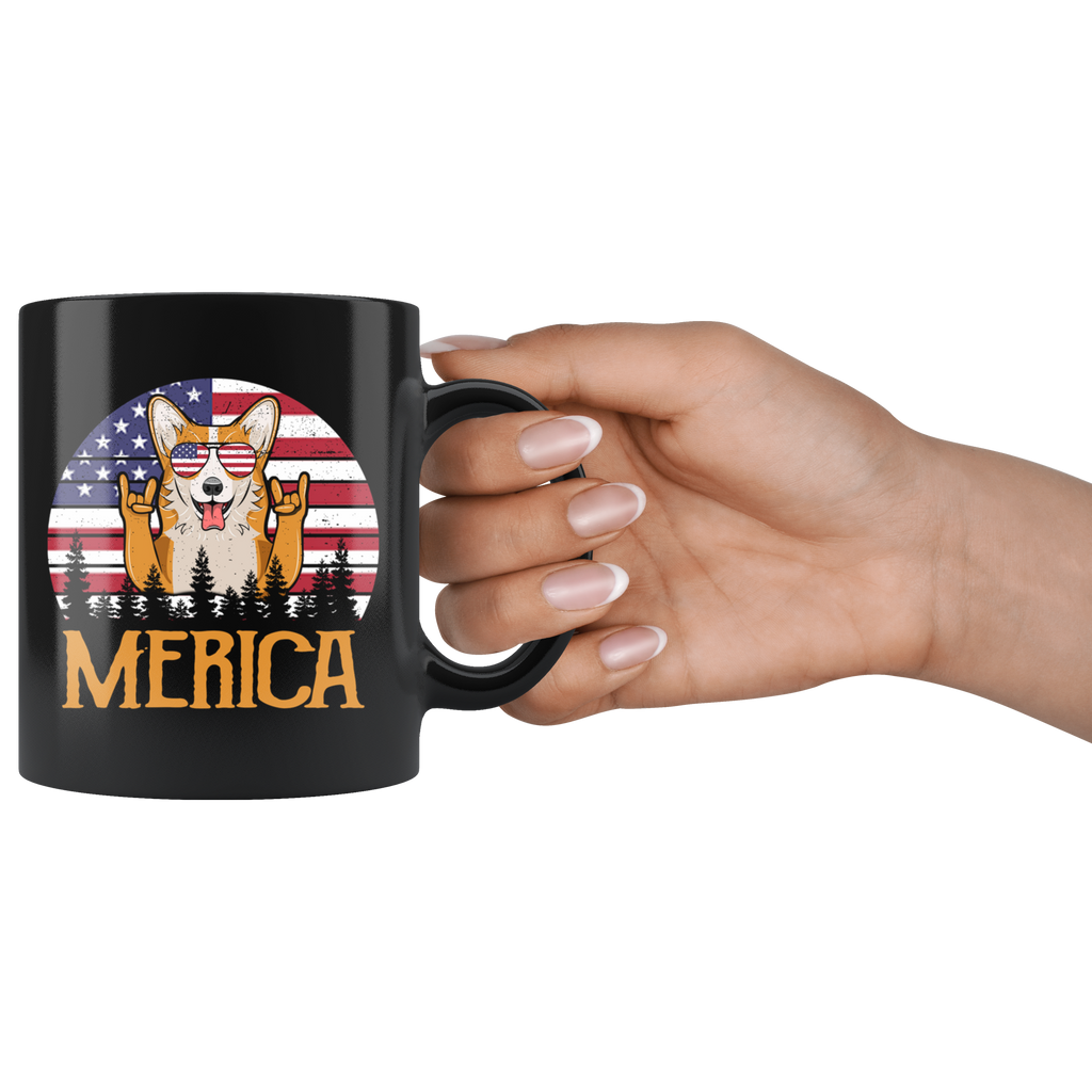 Corgi Merica 4th Of July American flag mugs