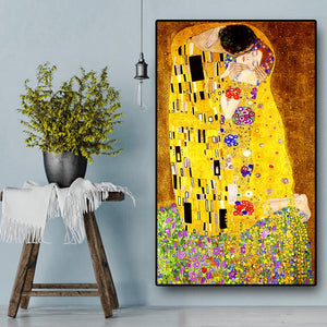Classic Artist Gustav Klimt kiss Abstract Oil Painting on Canvas