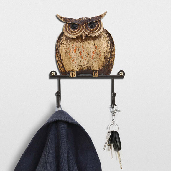 Iron Wall Hook Rustic Owl Metal Sculpture