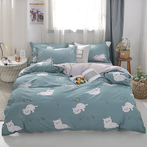 Cats Printed Bed Linen Duvet Cover soft blue