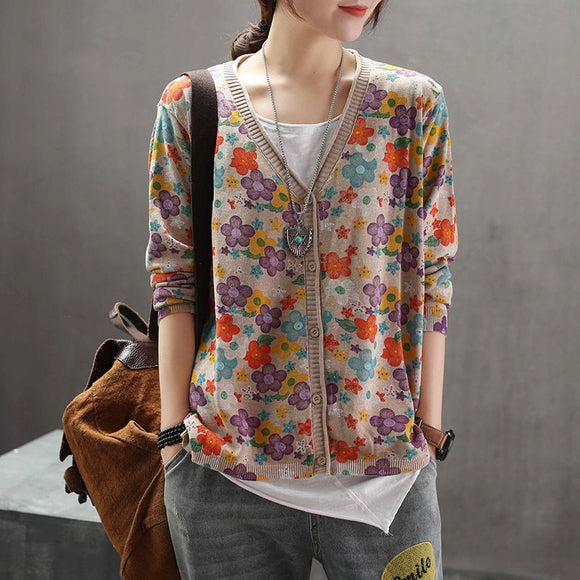 Floral sweater cardigan retro art