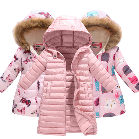 Kids Girls Jacket Autumn Winter Hooded Cat Print