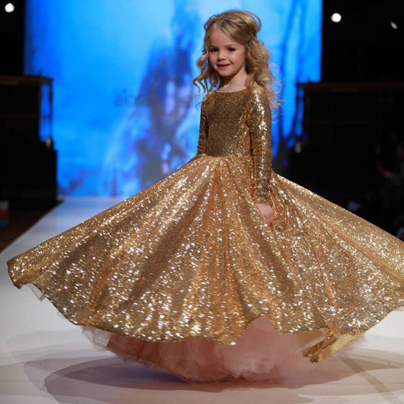 Girls Cinderella's Ball Dress Sequins Party Dress