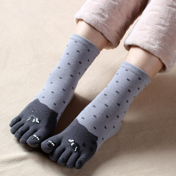 3 Pairs Autumn Winter Warm Cotton Five Finger Socks Cat print