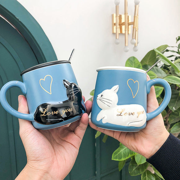 Cat Love Cups Couple Ceramic Mugs Gift