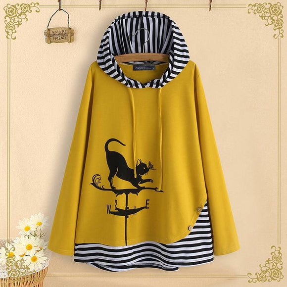 Cat Print Tunic Tops Hooded