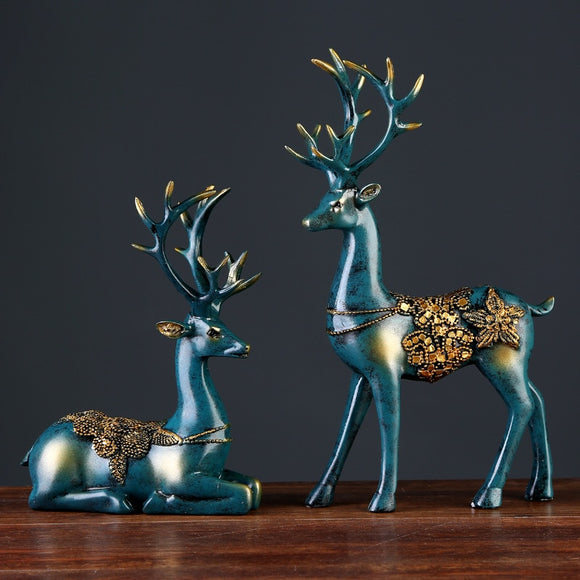 2 Pcs Resin Blue Deer Figurine
