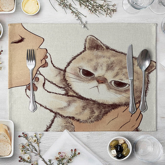 Cat Linen Table Mat