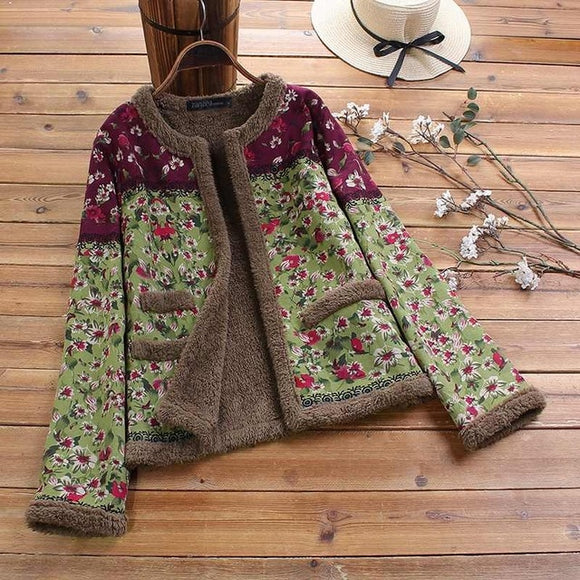Vintage Plush Fluffy Floral Jackets