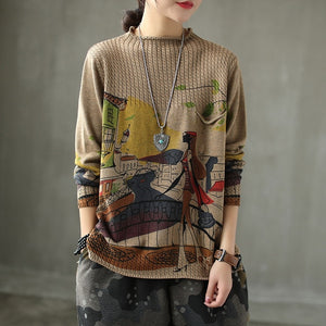 Winter Knitted Pullover Women Printed Jumper