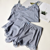 Cotton Pajama Lace Top And Shorts