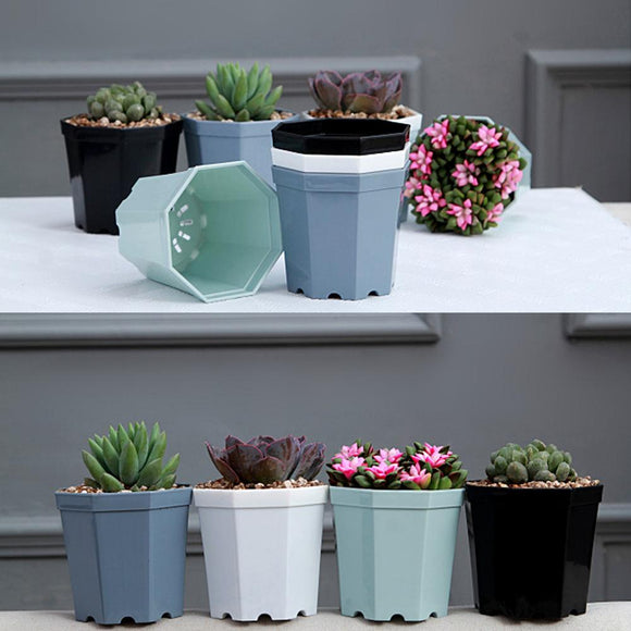 4 Pieces Octagon Flower Pot with drainage