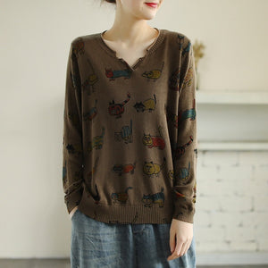 Cat Printing Thin Pullover Top V Neck