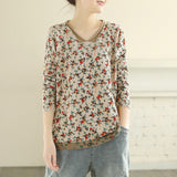 Floral Pullover V Neck Knitted Top with Pocket