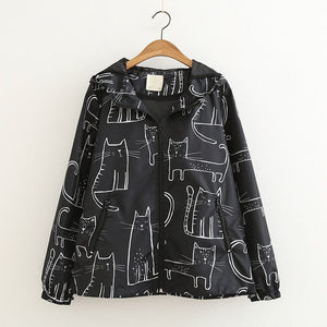 Cat Print Women Rain Jacket
