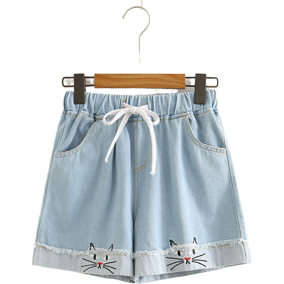 Cat Embroidery Denim Shorts