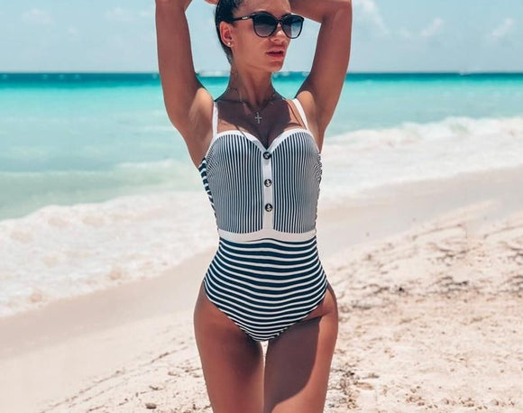White Striped Bandeau Swimsuit