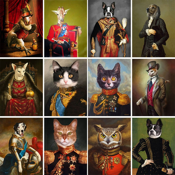 Vintage Painting Animals Portrait