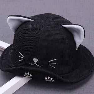Corduroy Cotton Cat Ear Hat