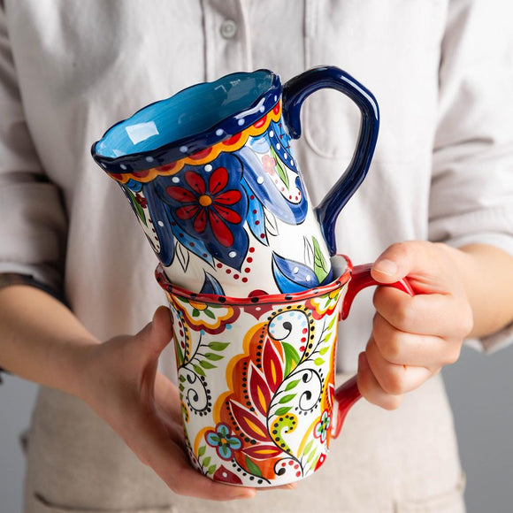 Large Bohemian Mug Ceramic Coffee Cup