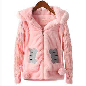 2-12 years Girls Woolen Hooded Cartoon Jacket