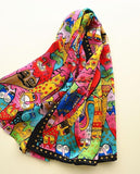 Colorful cats long scarf natural silk