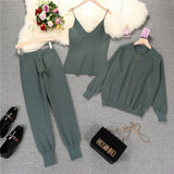 Knitted Cardigan+ joggers sweatpants Set Outfit