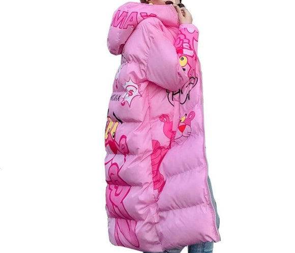 Pink Panther Boho Women Winter Hooded Long Coat